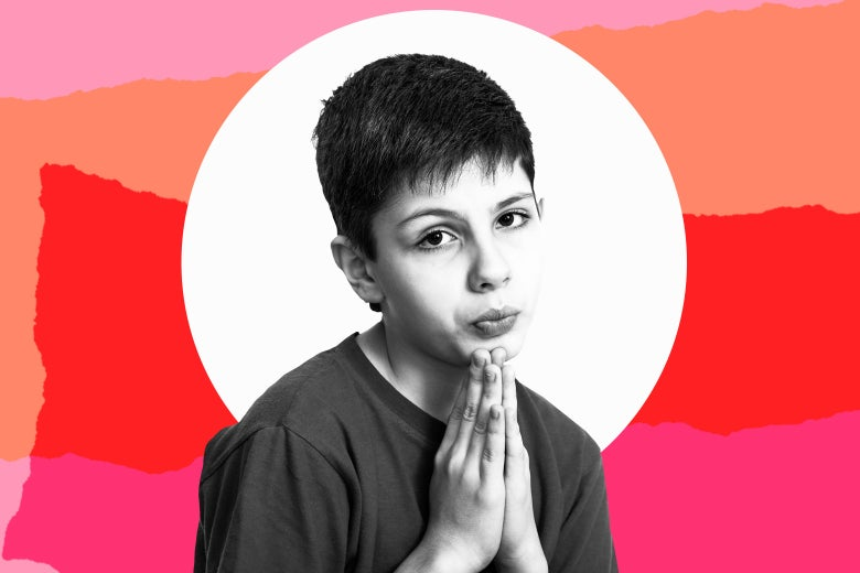 Photo illustration: A child with hands in the prayer position praying for a play date. Please, Mom?