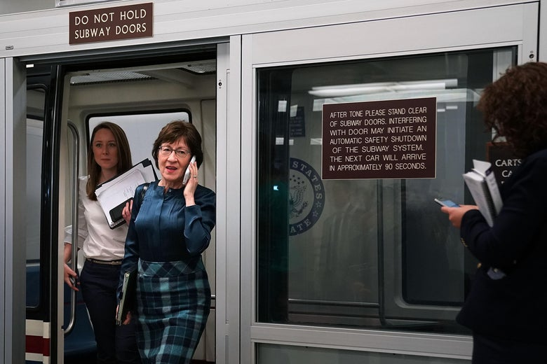 WASHINGTON, DC - NOVEMBER 14:  Sen. Susan Collins (R-ME) steps off the Senate subway as she heads for the GOP policy luncheon at the U.S. Capitol November 14, 2017 in Washington, DC. Senate Republicans are distancing themselves from Alabama GOP senate candidate Judge Roy Moore after five women have accused him of sexually inappropriate behavior and some in his own party have asked him to drop out of the race.  (Photo by Chip Somodevilla/Getty Images)