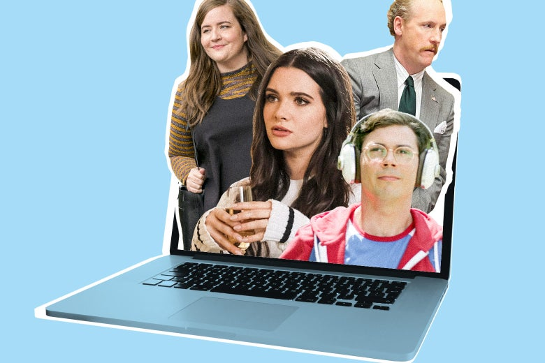 Photo collage of Ryan (Ryan O'Connell) from the TV show Special, Jane (Katie Stevens) from The Bold Type, Annie (Aidy Bryant) from Shrill, and Mike (Matt Walsh) from Veep poking out of a laptop screen.