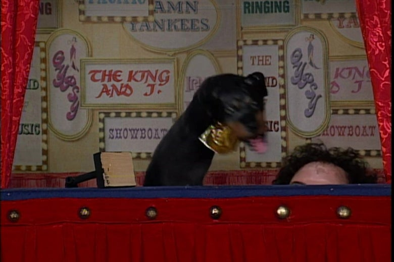 Robert Smigel's head rises into frame during Triumph the Insult Comic Dog's first TV appearance.