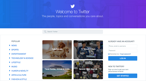 Twitter's new home page for logged out visitors.