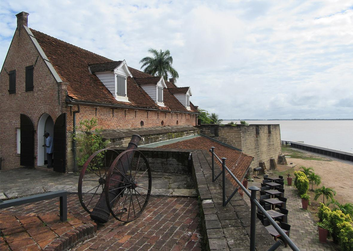 The view from Fort Zeelandia over the Suriname River.