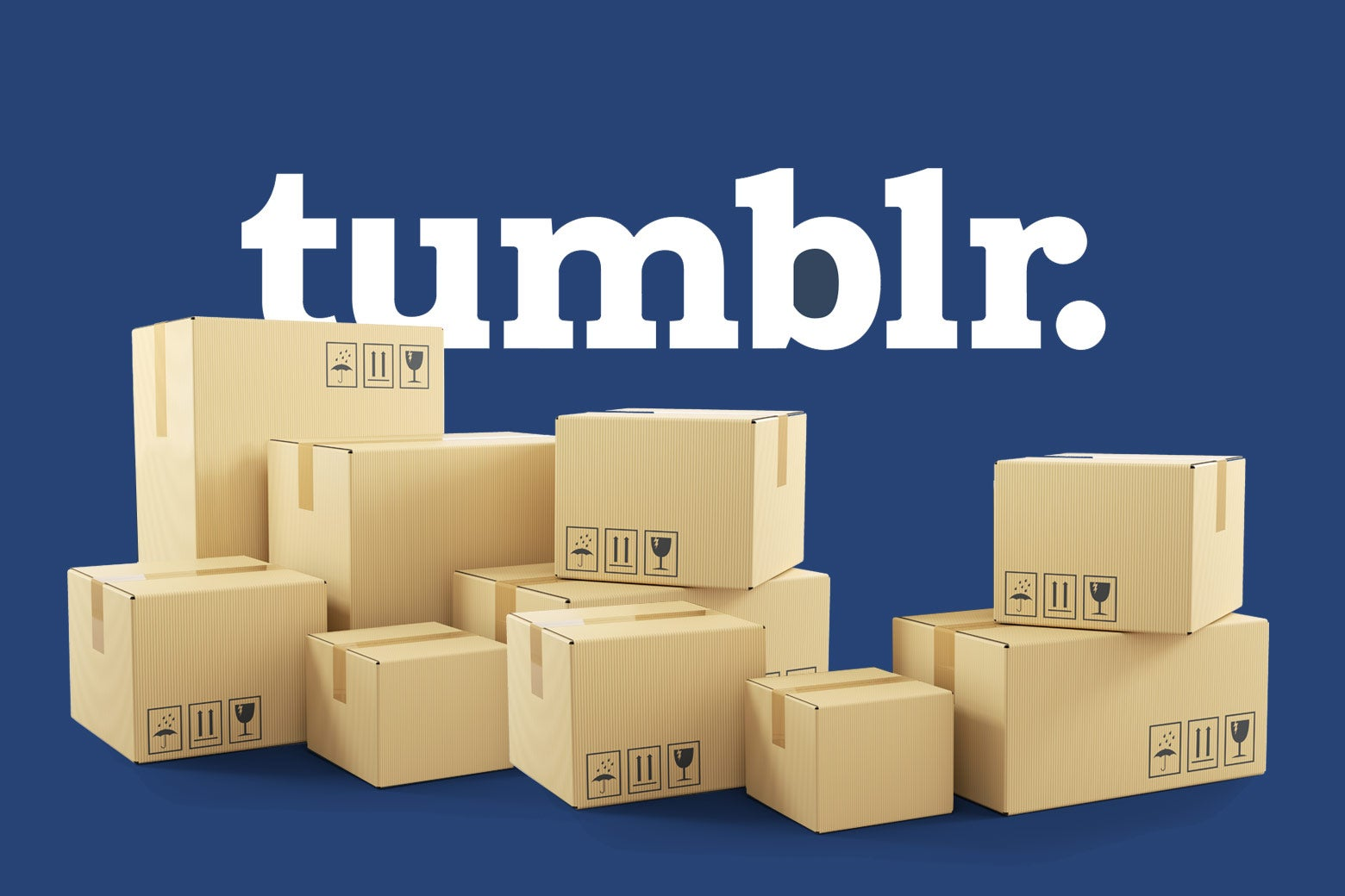 Moving boxes in front of the Tumblr logo
