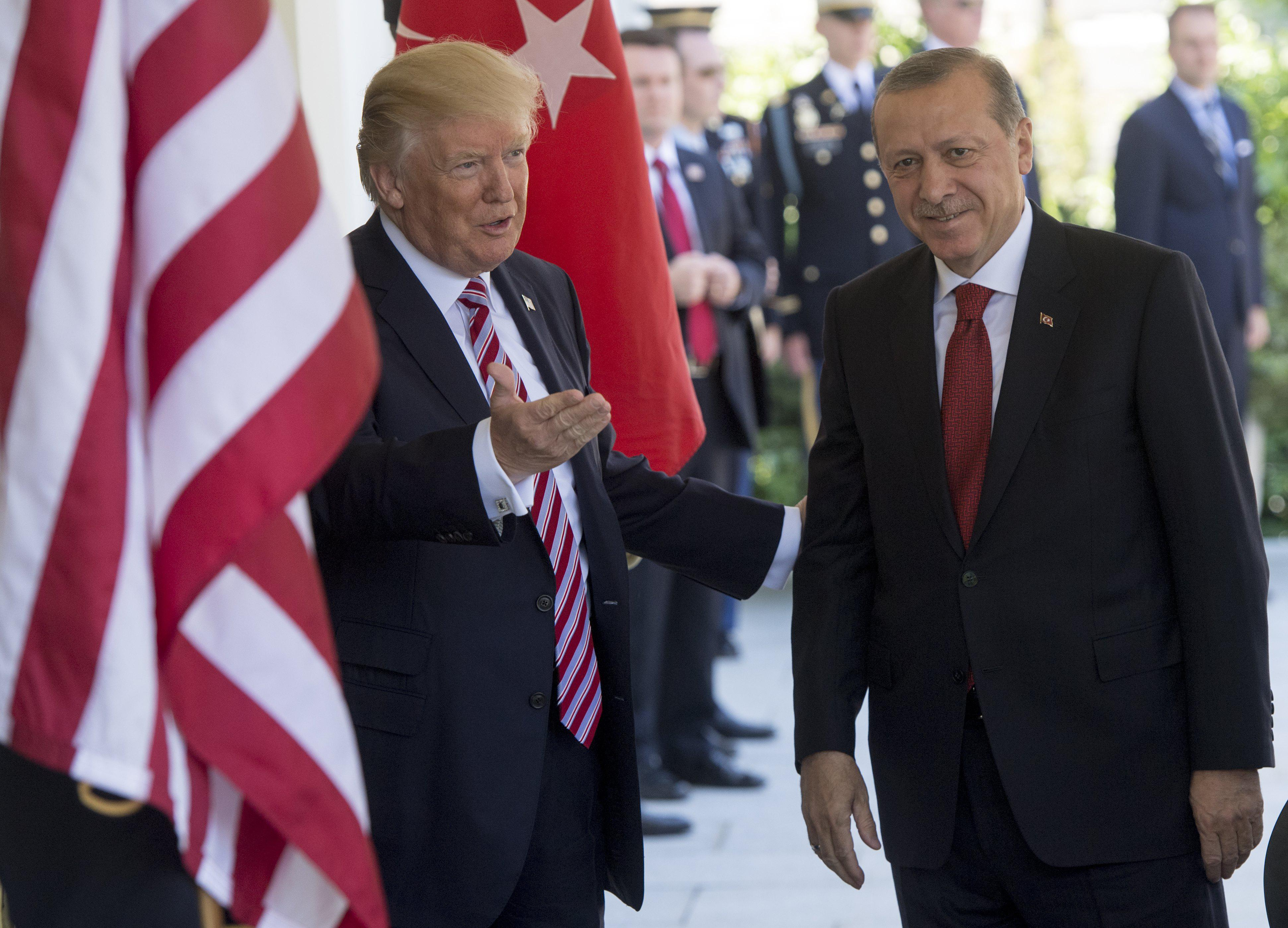 President Donald Trump welcomes Turkish President Recep Tayyip Erdogan as he arrives for meetings at the White House in Washington, DC, May 16, 2017.