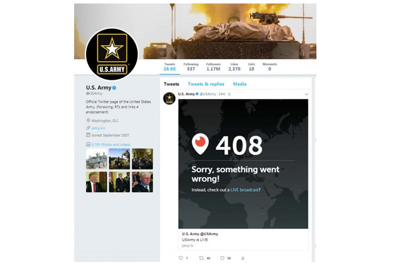 Screenshot of a deleted @USArmy tweet, provided in response to one of the author's FOIA requests with the U.S. Army.