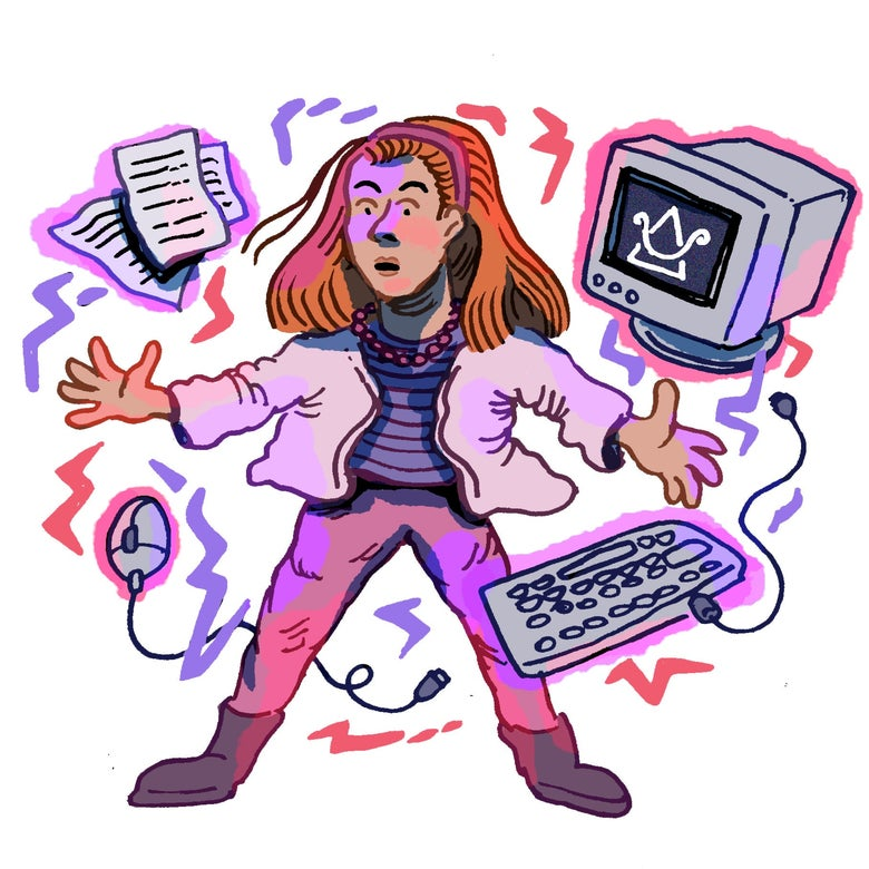 Illustration of Willow surrounded by computer accessories.