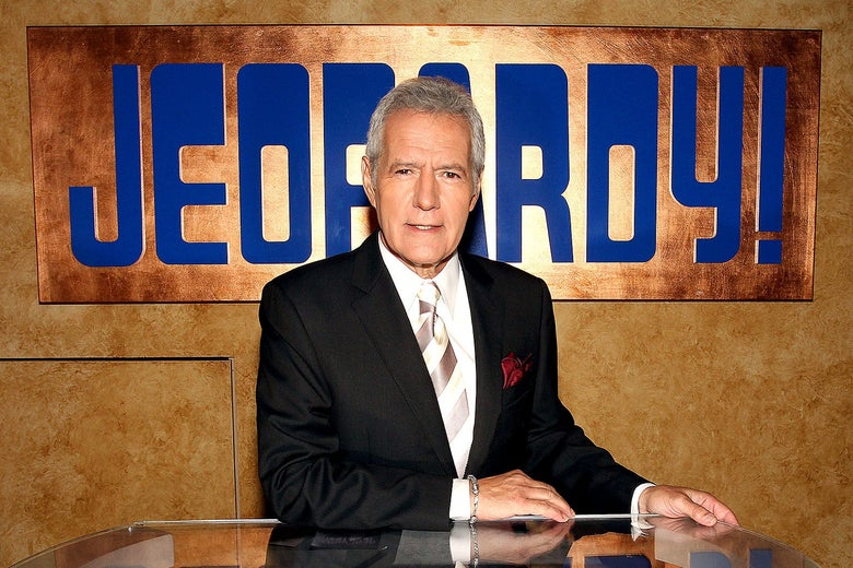 Alex Trebek poses on the Jeopardy set in Culver City, California.