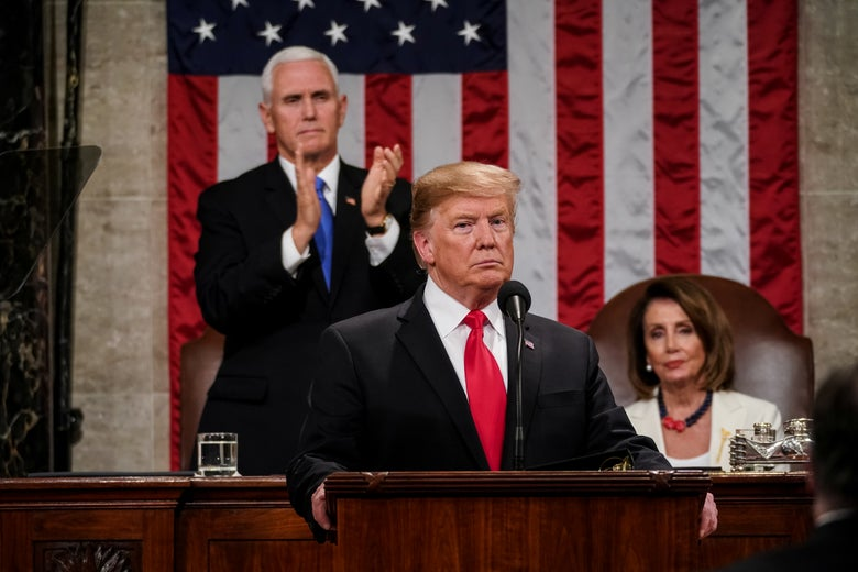 Trump looking angry during SOTU
