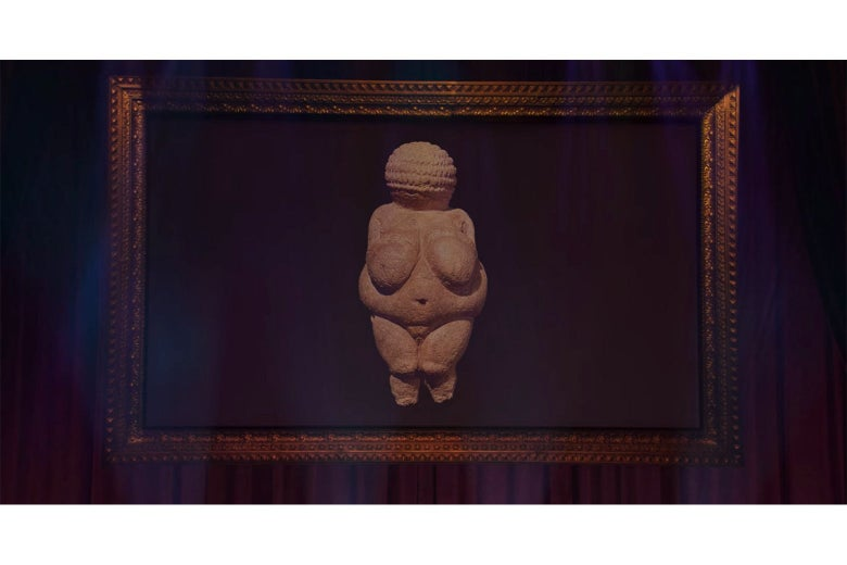 A projection screen from Douglas displaying an image of a paleolithic Venus figurine.