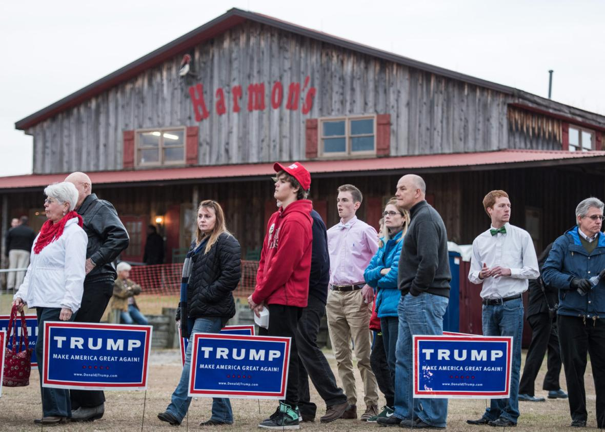 People wait in line at at a Donald Trump campaign rally at Harmon Tree Farm January 27, 2016 in Gilbert, South Carolina.