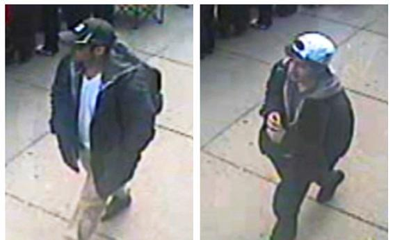 Suspects wanted for questioning in relation to the Boston Marathon bombing April 15 are seen in handout photos presented during an FBI.