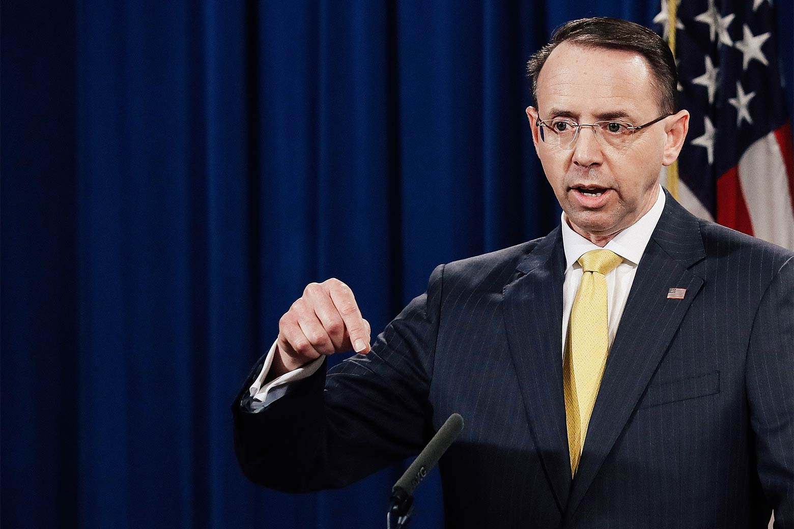 U.S. Deputy Attorney General Rod Rosenstein announces the indictment of 13 Russian nationals and 3 Russian organizations for meddling in the 2016 U.S. presidential election February 16, 2018 at the Justice Department in Washington, DC. The indictments are the first charges brought by special counsel Robert Mueller while investigating interference in the election.
