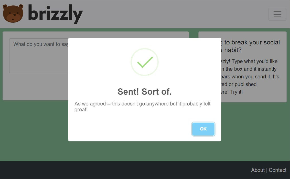 """A screenshot of what Brizzly.com after you've """"sent"""" a post."""