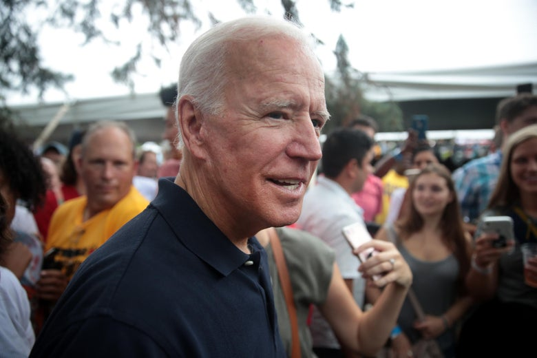 Former Vice President Joe Biden greets guests at the Polk County Democrats' Steak Fry on September 21, 2019 in Des Moines, Iowa.