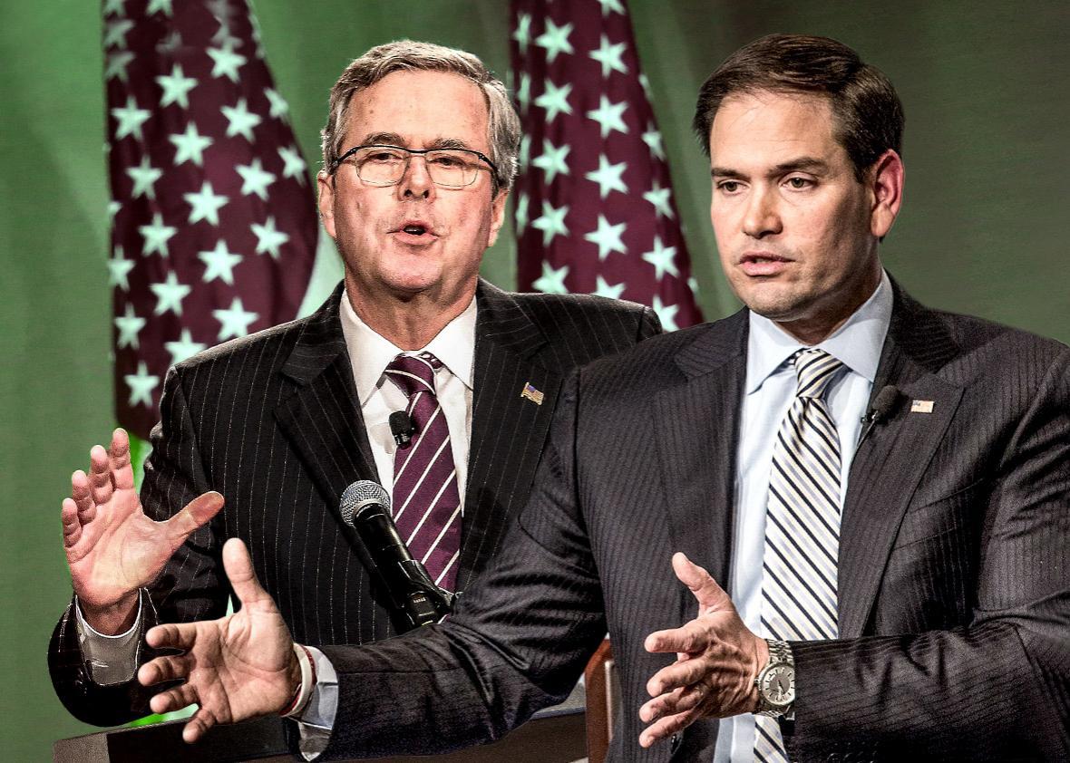 Former Florida Governor Jeb Bush, left, and Sen. Marco Rubio.