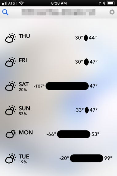 A screenshot of the app Dark Sky says that Saturday will have a high of 47 degrees and a low of -107 degrees.