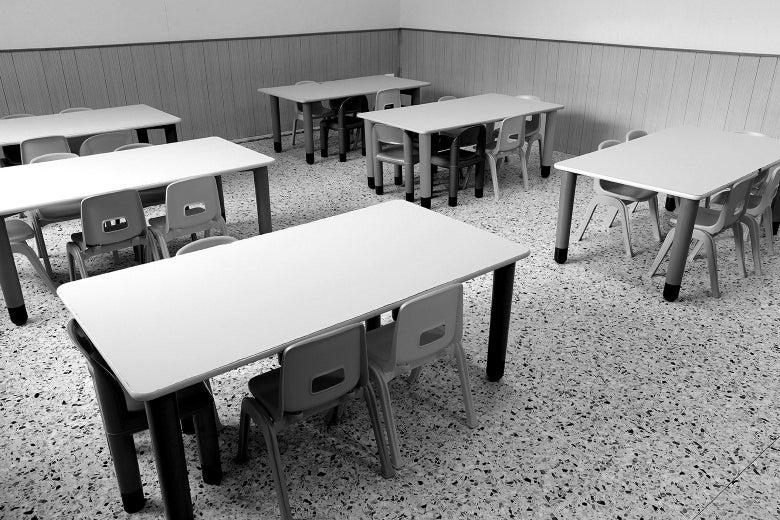 An empty grade school classroom.
