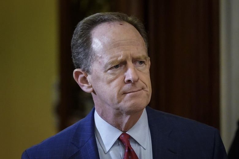 Sen. Pat Toomey (R-PA) leaves the Senate chamber during a recess at the U.S. Capitol on January 30, 2020 in Washington, D.C.