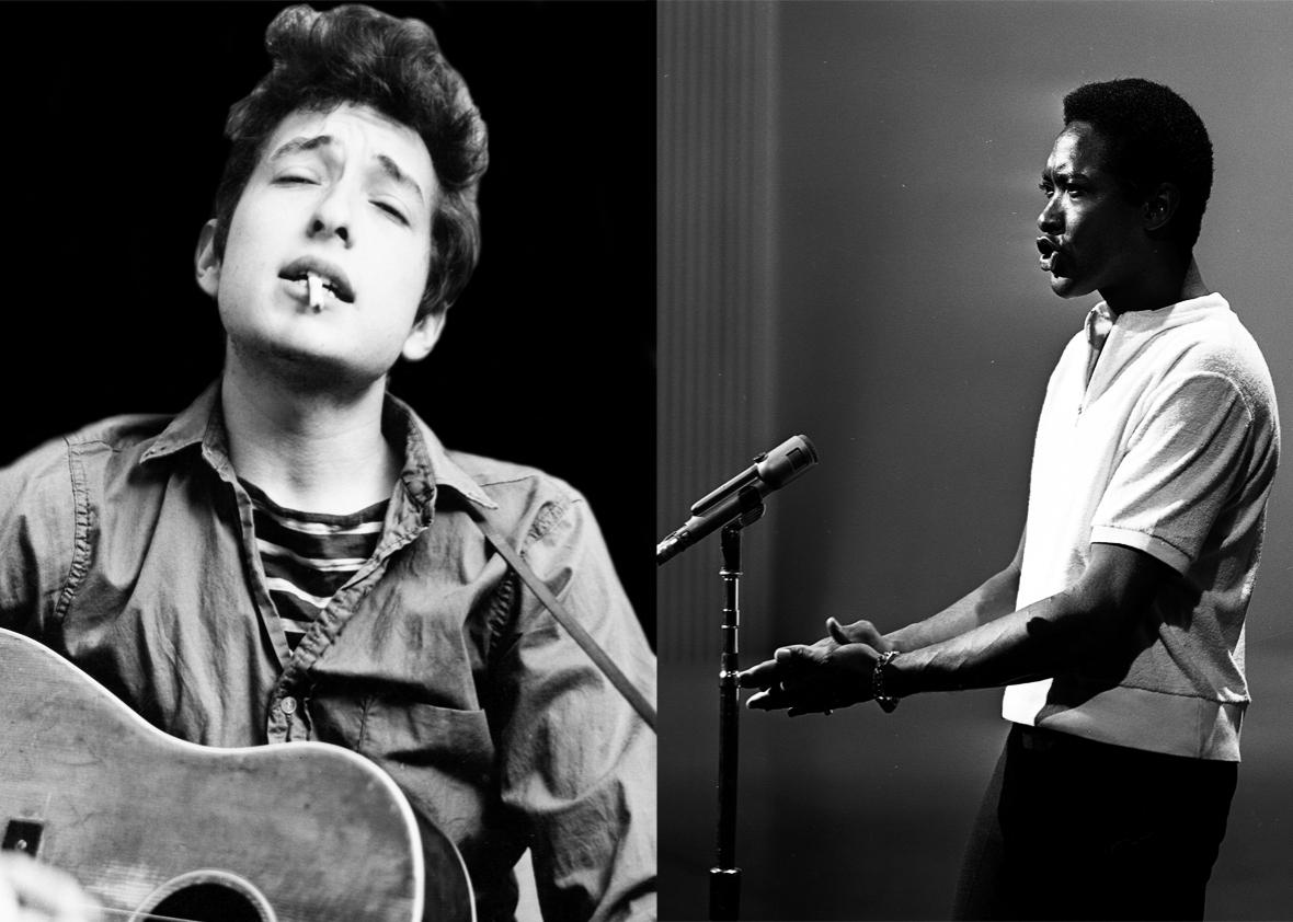 Bob Dylan in 1962 and Sam Cooke in 1964.