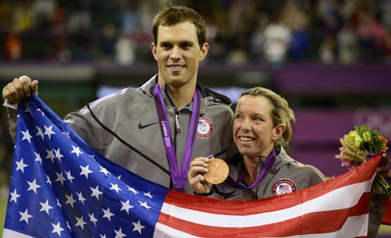 Lisa Raymond and Mike Bryan Displaying their bronze medals.