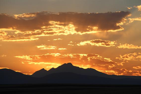 Sunset behind Longs Peak