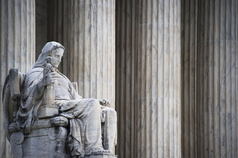 The statue of Contemplation of Justice at the United States Supreme court.