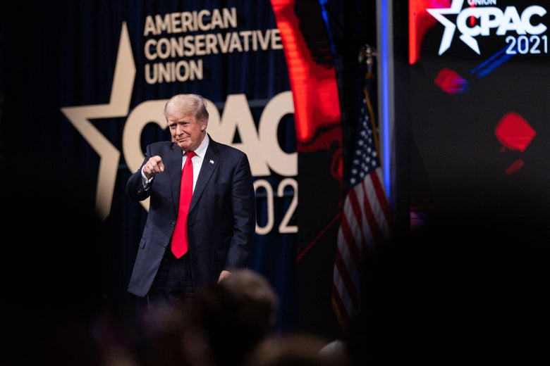 Former President Donald Trump walks on stage before speaking at the Conservative Political Action Conference (CPAC) in Dallas, Texas on July 11, 2021.