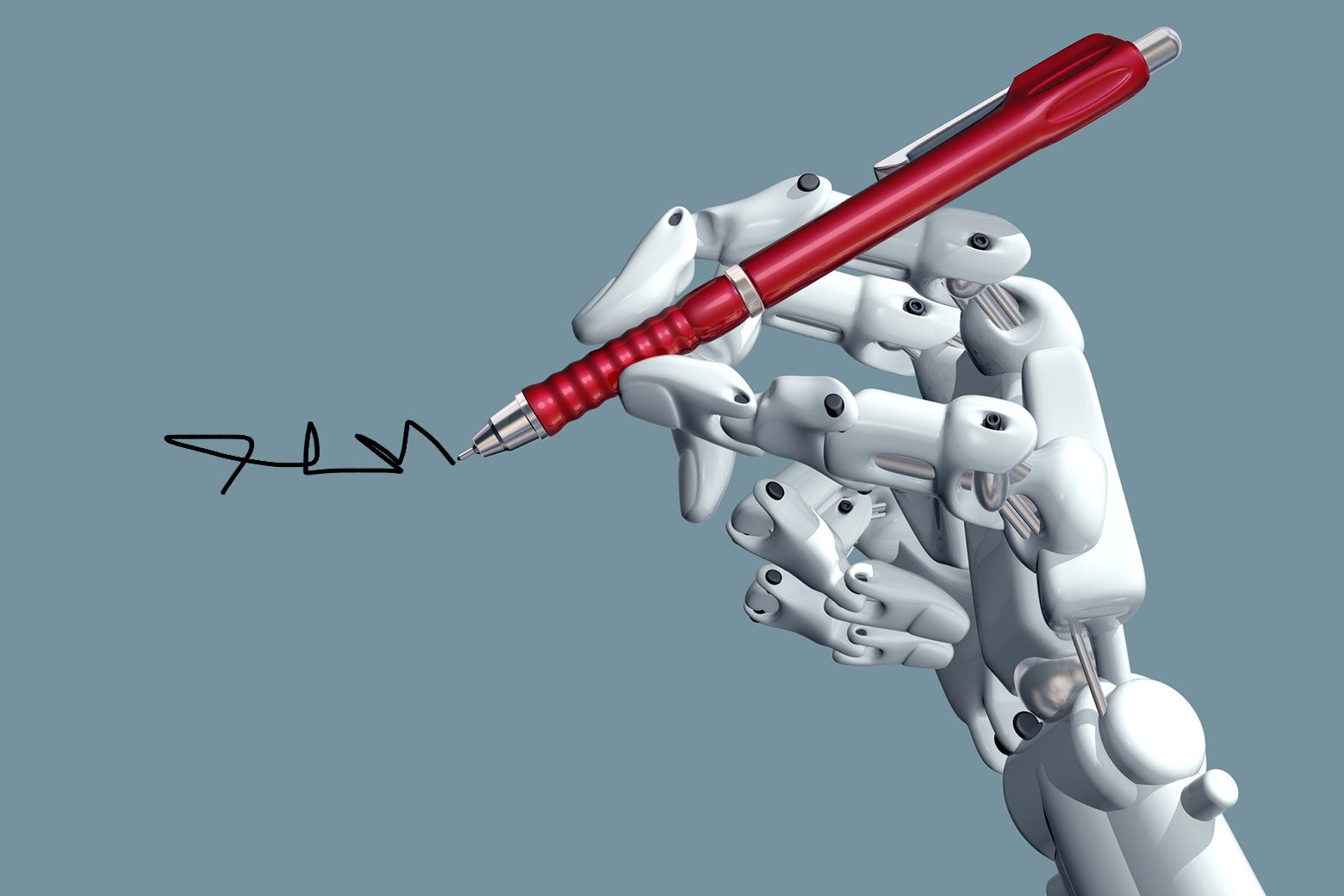 A robotic hand holds a pen.