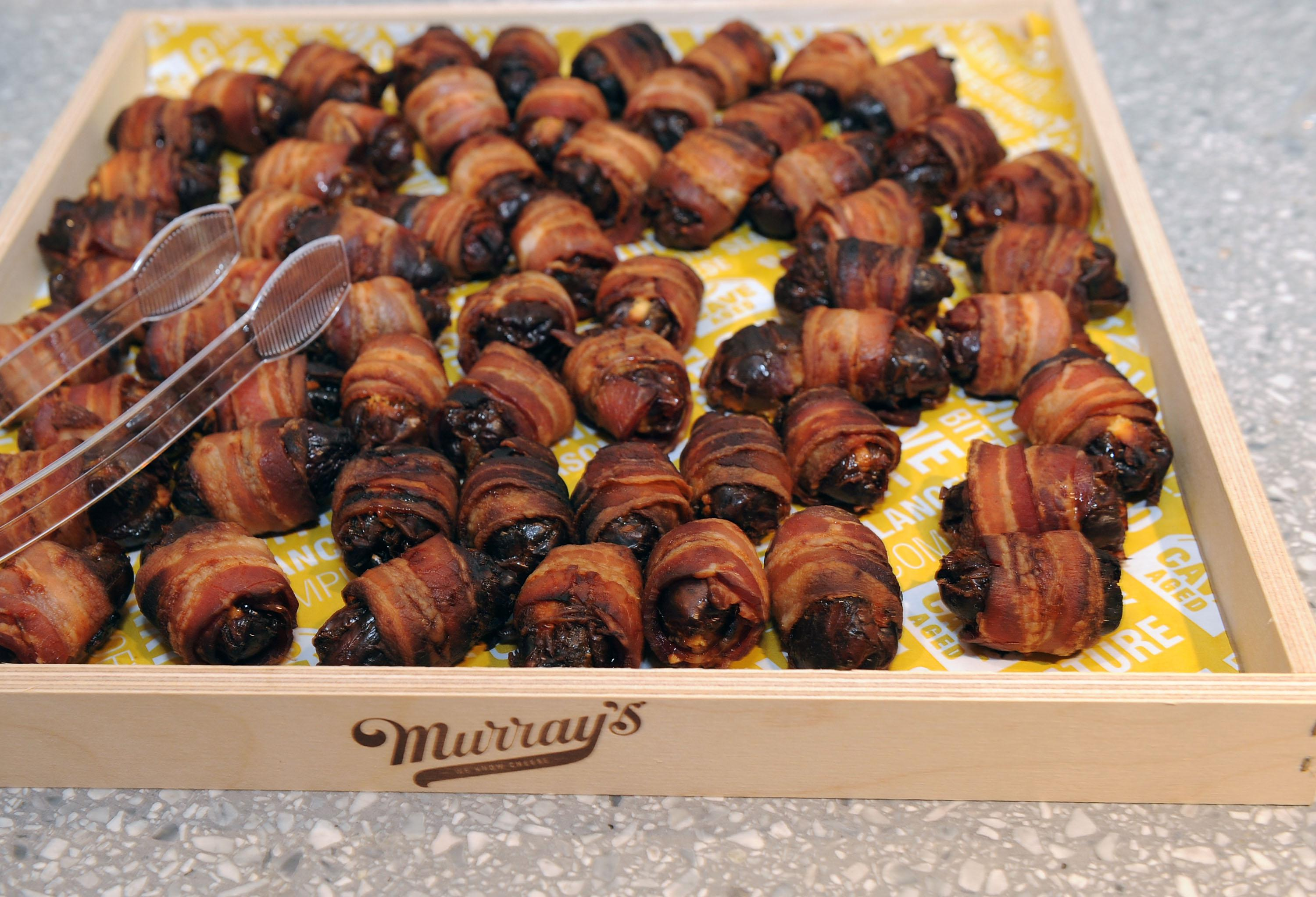 Bacon-wrapped figs at a storytelling event sponsored by New York Magazine and WeWork on June 20.
