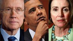 Harry Reid, Barack Obama, and Nancy Pelosi. Click image to expand.