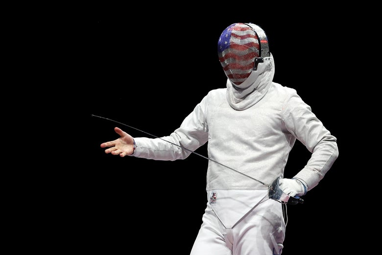 Eli Dershwitz of Team United States reacts in his men's sabre individual bout against Junghwan Kim of Korea of the fencing on day one of the Tokyo 2020 Olympic Games at Makuhari Messe Hall on July 24, 2021 in Chiba, Japan.