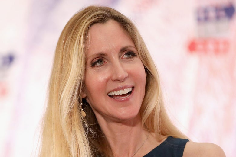 Ann Coulter smiles as she speaks onstage at a political convention.