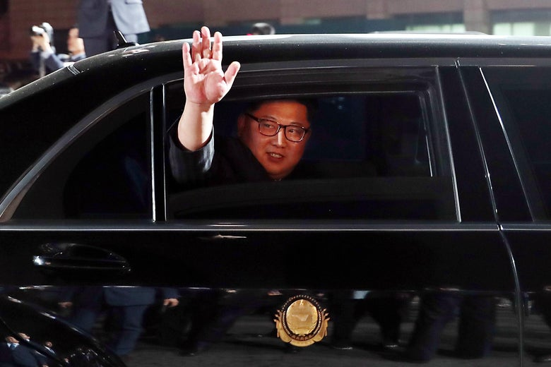 North Korean Leader Kim Jong Un leaves the Peace House after the Inter-Korean Summit and dinner on April 27, 2018 in Panmunjom, South Korea.