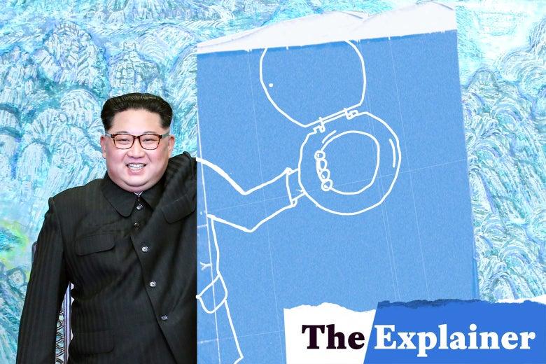 Kim Jong-un holding a toilet seat.