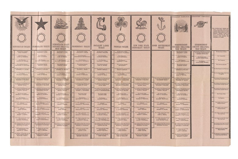 A New York state ballot from 1895.