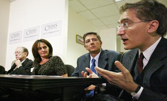 Robert George of Princeton University, far right, speaks during a news conference in Washington D.C. Sept. 8, 2003.