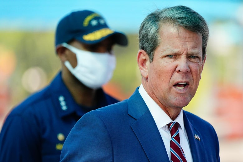 Georgia Governor Brian Kemp speaks during a press conference.