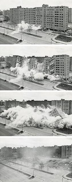 The widely televised demolition of a Pruitt-Igoe building.