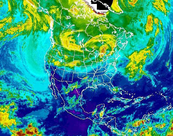 Satellite map of the midwest snowstorm