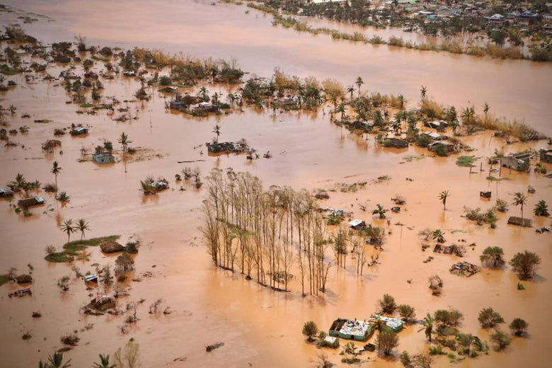 An aerial view shows the flooded plane surrounding Beira, Mozambique, after the passage of Cyclone Idai.