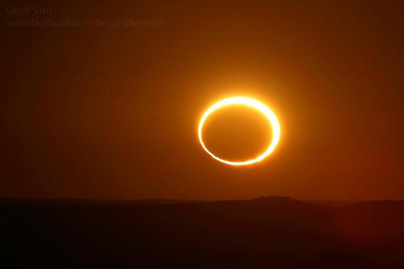 Geoff Sims picture of an annular eclipse at sunset