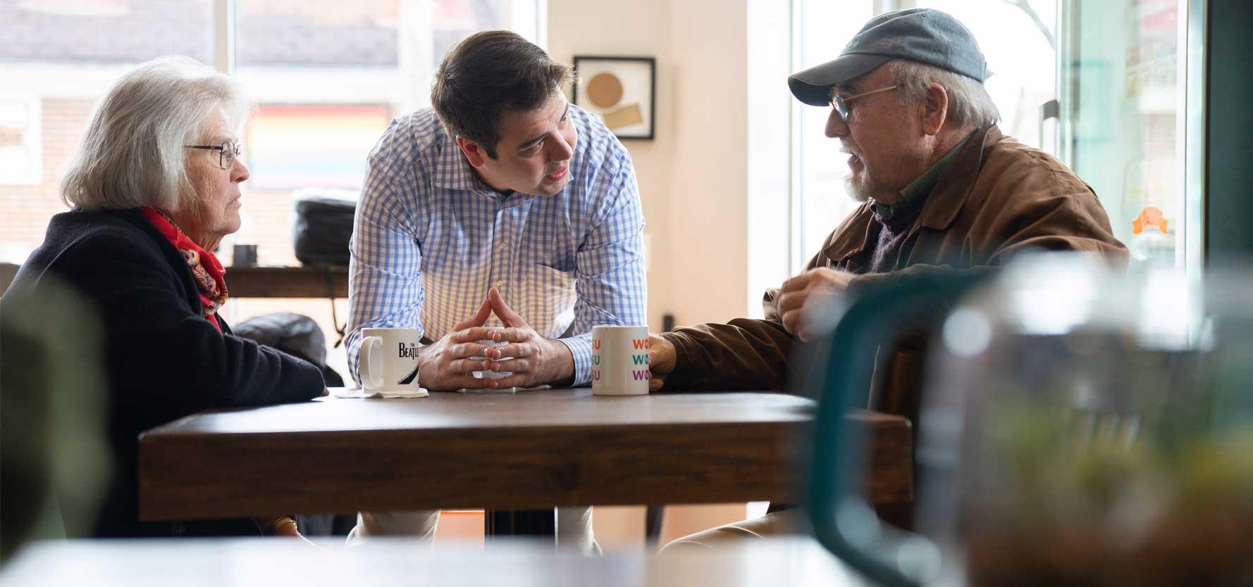 Democrat Danny O'Connor speaks to Ohio voters