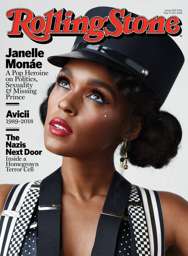 Janelle Monáe wears at least four pairs of suspenders on the cover of Rolling Stone.