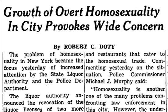 """A headline reads """"Growth of Over Homosexuality In City Provokes Wide Concern."""""""