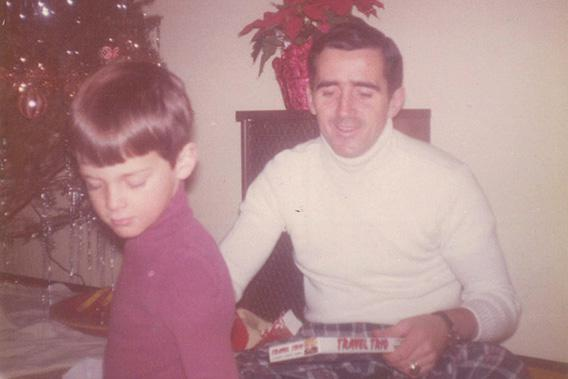 The author and his father, Christmas, 1975.