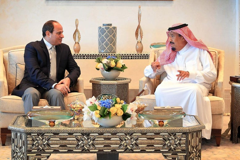 A handout picture released by the Egyptian Presidency on August 14, 2018, shows Saudi King Salman (R) receiving Egypt's President Abdel Fattah al-Sisi at the Neom site near Maqnah, northwestern Saudi Arabia. (Photo by - / Egyptian Presidency / AFP)        (Photo credit should read -/AFP via Getty Images)