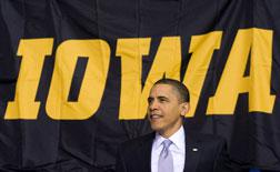 Barack Obam in Iowa.