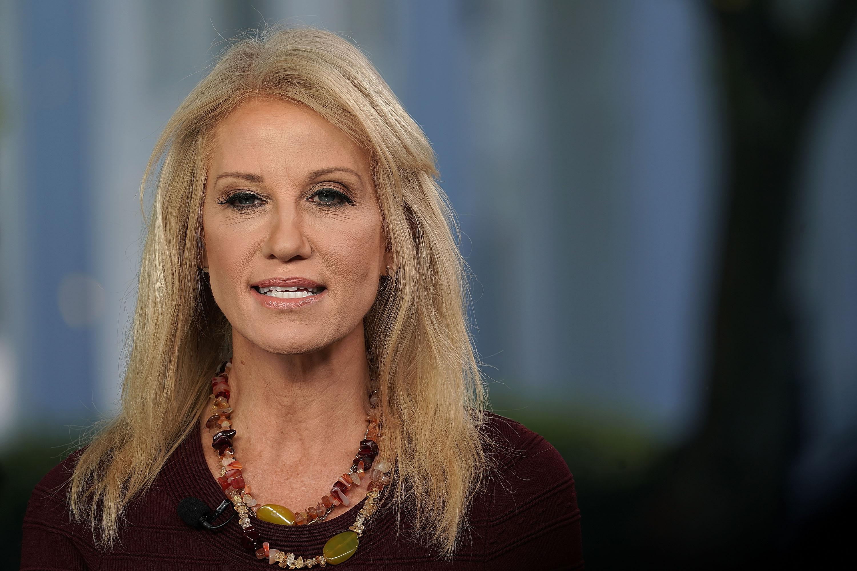 A photo of Kellyanne Conway wearing a microphone, in what appears to be a television appearance.