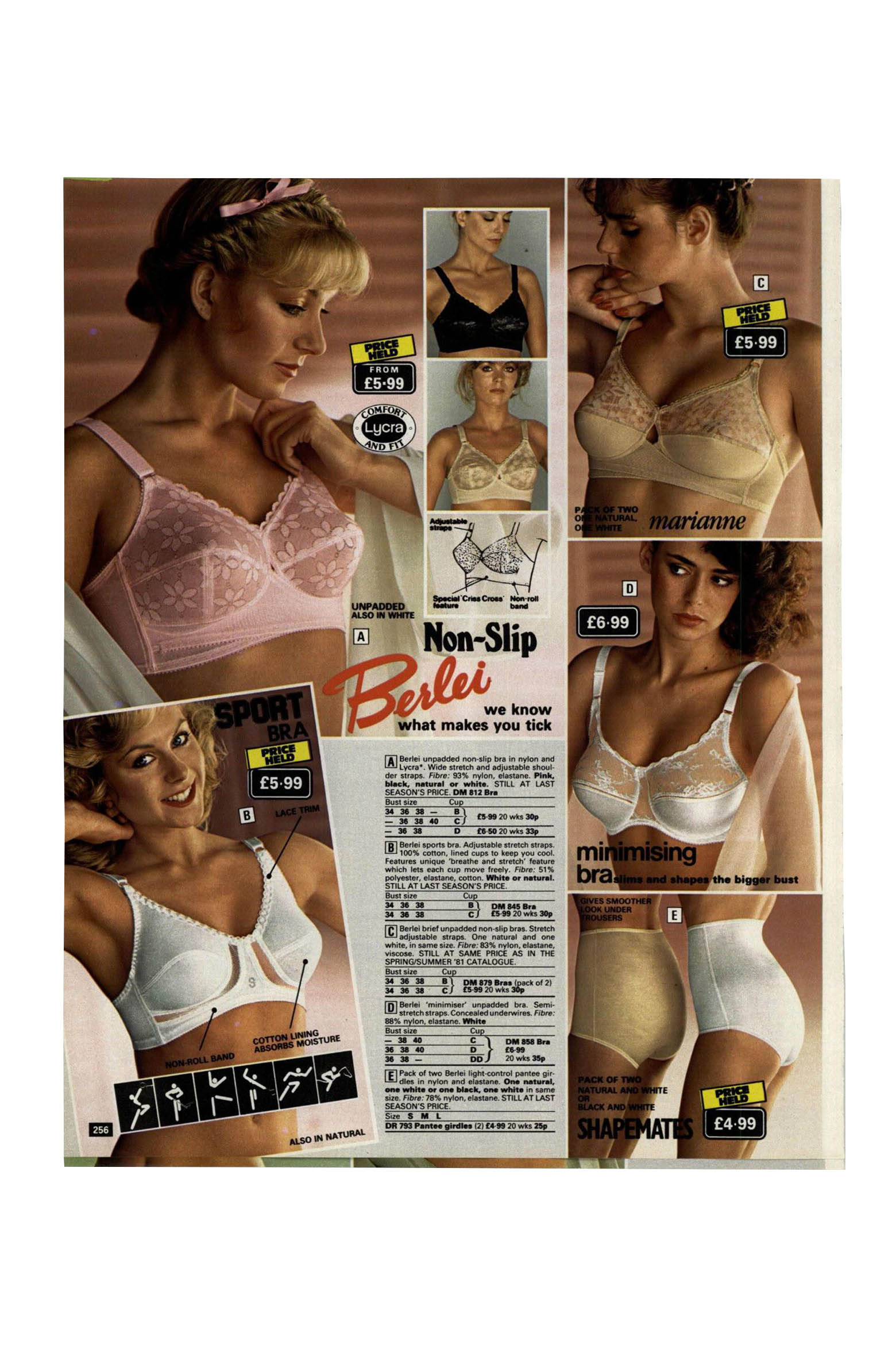 A page from the Littlewoods catalog showing women wearing bras and shapewear.