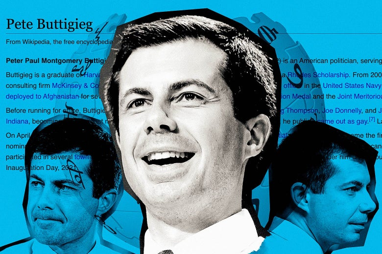 Various Pete Buttigieg faces collaged over his Wikipedia page.